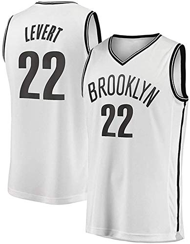 YZY Maglia Uomo, NBA Brooklyn Nets # 22 Caris Levert Pallacanestro Jersey, Classico Ricamato Respirabile Senza Maniche Canotta Abbigliamento,B,M(170~175CM/65~75KG)