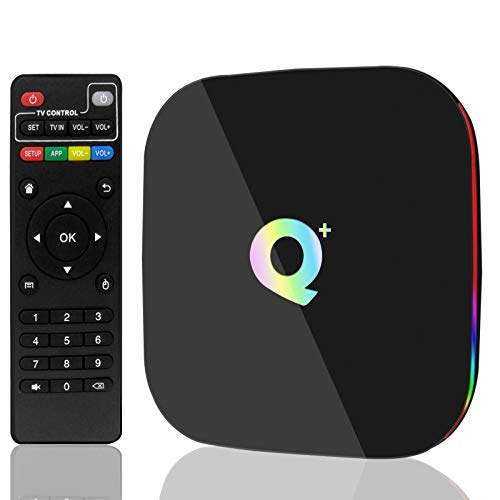 Android 9.0 TV Box,USBNOVEL Q Plus Android TV Box 4GB RAM 32GB ROM Quad Core H6 Smart tv Box Support 3D 6k Ultra HD 2.4GHz WiFi Ethernet 10/100M HDMI Output