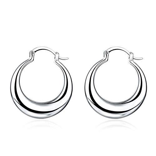 BlackAmazement, orecchini a cerchio grandi in acciaio inox color argento, motivo a falce di luna rotonda, un paio, acciaio inossidabile
