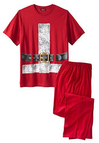 KingSize Men's Big & Tall Holiday Pajama Set - Tall - L, Santa Suit Pajamas