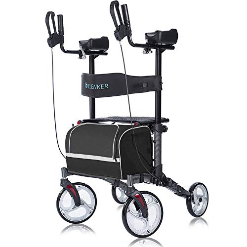 "ELENKER Upright Walker, Stand Up Folding Rollator Walker with 10"" Front Wheels, Padded Armrests, Seat and Backrest for Seniors and Adults, Color: Carbon Fiber Black"