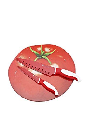 Darna Home Tabla De Cortar Tomate + 2 Cuchillos Cerámicos...