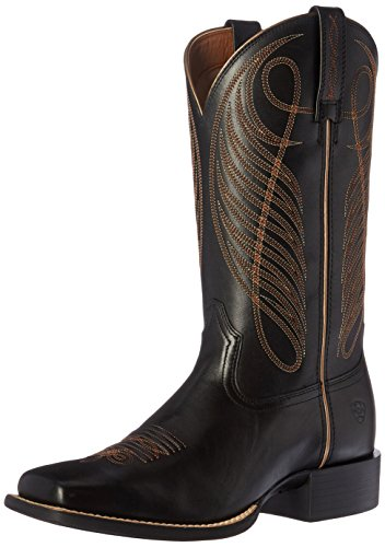 Ariat Women's Round Up Wide Square Toe Western Cowboy Boot, Limousine Black, 11 B US