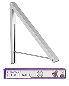 Stock Your Home Retractable Clothes Rack - Wall Mounted Folding Clothes Hanger Drying Rack for Laundry Room Closet Storage Organization Aluminum Easy Installation 1 Pack  Silver