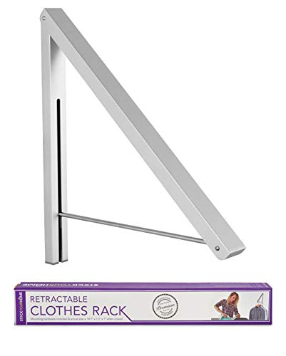 Stock Your Home Retractable Clothes Rack - Wall Mounted Folding Clothes Hanger Drying Rack for Laundry Room Closet Storage Organization, Aluminum, Easy Installation, 1 Pack (Silver)