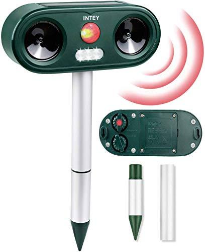 INTEY Répulsif Chat (1 PC) avec 5 Fréquences Réglables, Répulsif Animaux Ultrason Sonore avec LED Lampe, 3 Moyens de Charge, Répulsif pour Chats, Chiens, Souris, etc, Compagnon pour Jardin