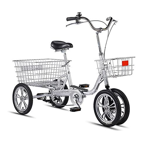 Triciclo para Adultos Bicicleta Triciclo para Adultos De 14 Pulgadas Bicicleta De Una Sola Velocidad con Canasta Grande Y Respaldo De Asiento, Bicicleta De 4 Ruedas Crucero para (Color:Plata-B)
