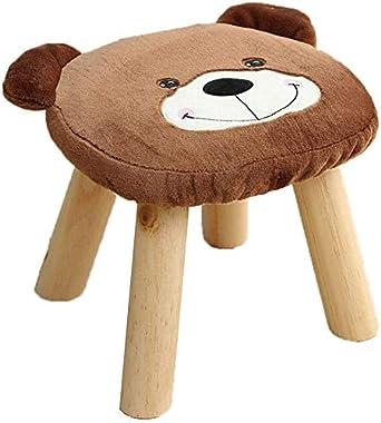 lyqqqq Ottomans Cartoon Bear Flannel Stool Footstool,Children's Toy Change Shoe Bench Solid Wood Feet,Living Room Home De