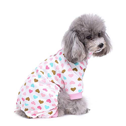 S-Lifeeling Dog Pajamas Costumes for Indoor Outdoor Turtleneck Love Pattern Comfortable Puppy Pajamas Soft Dog Jumpsuit Shirt Best Gift 100% Cotton Coat for Medium and Small Dog