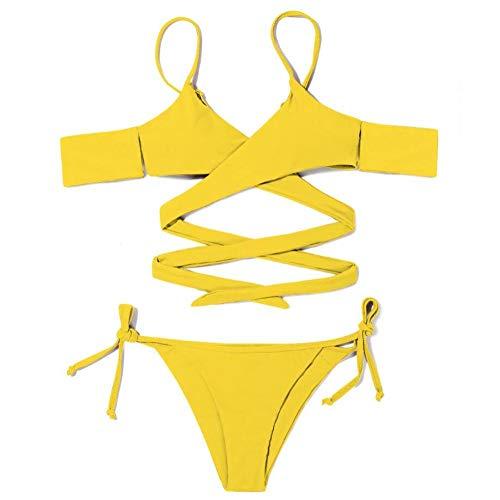 Correa Amarilla De Dos Piezas Traje De Baño para Mujer Retro Traje De Baño De Cintura Alta Trajes De Baño De Playa Atlética Sin Respaldo Ropa De Playa De Control De Barriga,L