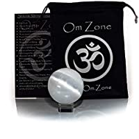 """Om Zone 2"""" Selenite Sphere Crystal Ball with Stand and Protective Bag for Scrying Mediation Feng Shui Intuition Focus and Energy Clearing"""
