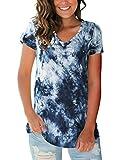 liher Women's Short Sleeve V-Neck Shirts Loose Casual Tee T-Shirt