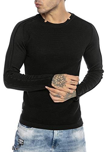 Redbridge Suéter para Hombre Jersey de Punto Sudadera Slim-Fit Cuello Redondo Negro S