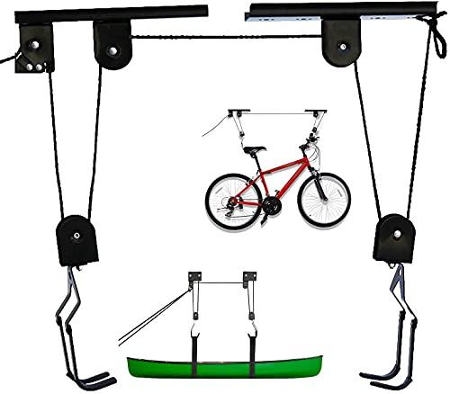 Soporte Bicicleta Suspensión de 57 kg de Carga, Elevador de Bicicletas, Colgar bicicleta techo, Soporte para Bicicleta, Elevador de Garaje para Cajas de Techo