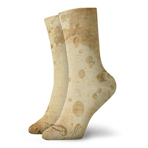 BJAMAJ Unisex Sokken Vintage Oud Papier Interessant Polyester Crew Sokken Volwassene Sokken Katoen