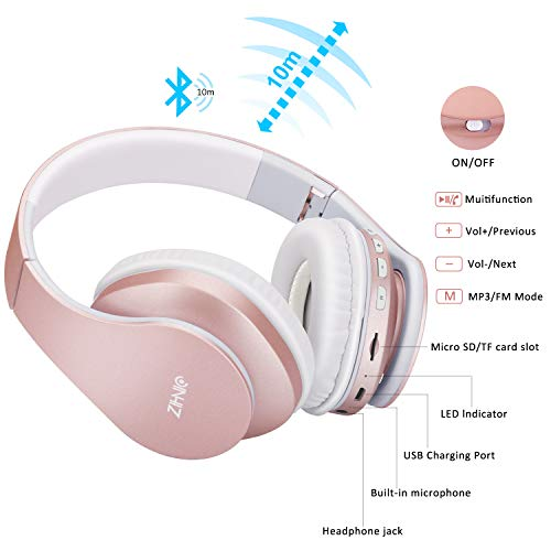 Bluetooth Over-Ear Headphones, Zihnic Foldable Wireless and Wired Stereo Headset Micro SD/TF, FM for Cell Phone,PC,Soft Earmuffs &Light Weight for Prolonged Waring (Rose Gold) 5