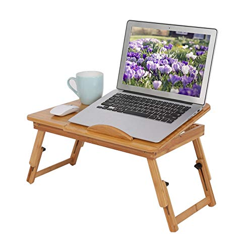 Mesa Ordenador Portátil de Plegable Ajustable,Escritorio de bambú con Ventilaciones y Cajón,Altura y Angulo Ajustables,portátil,50x30x20cm,