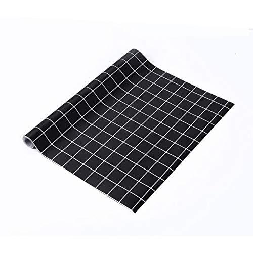 LOKIH Plastico Protector para Cocina Cajones Alfombras Non Adhesivo para Nevera Mueble Fregadero Estante Organizador Cubiertos,Cuadros Negros,60x500cm