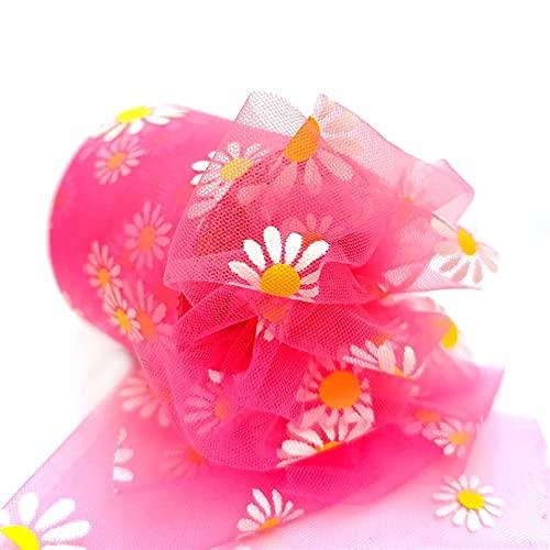 HOUJHUR Daisy Flower Tulle 6cm Band Roll DIY. Handgemachte Handwerk Haar Ornament Backen Mesh Stoff Supplies (Color : 12, Size : Kostenlos)