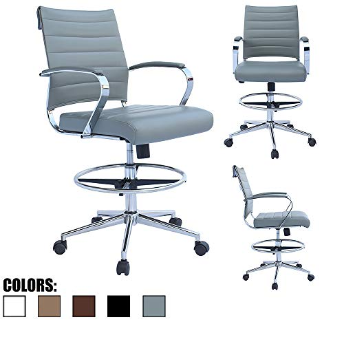 2xhome - Modern Adjustable Designer Ergonomic Office Drafting Chair Tilting Seat Office PU Leather Cushion Seat with Arms Foot Rest Ribbed Computer Desk Chair Gray