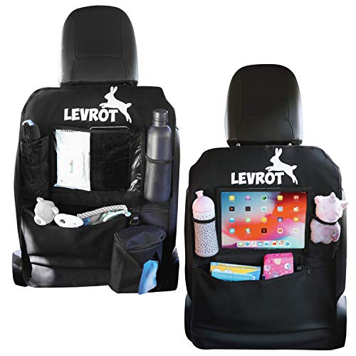 Levrot - Juego de fundas para asientos de coche para niños - Organizador con bolsillo para tablet y portapañuelos, 2 unidades
