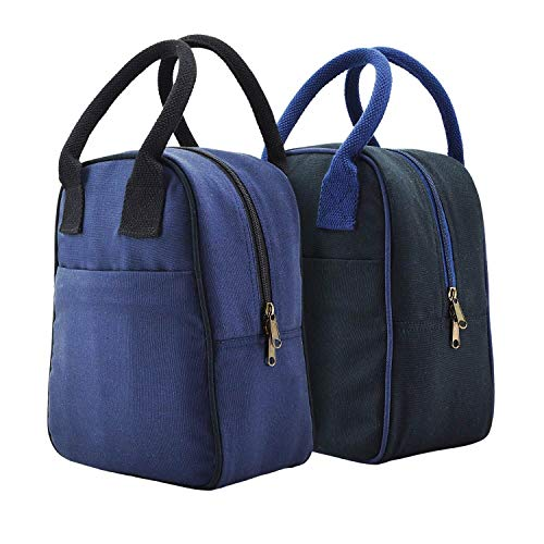 FATMUG Lunch Hand Bag - Tiffin Bag for Kids Men Women -Insulated Eco-Friendly- Set of 2(Black,Blue)