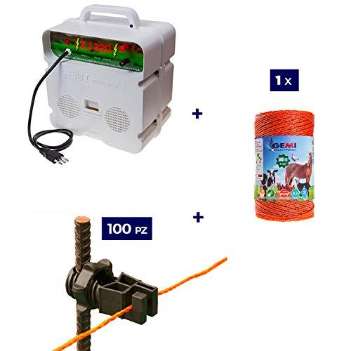 Kit complet pour clôture électrique clôture électrifiée pour animaux Chevaux Chiens Vaches Poules: 1x ELECTRIFICATEUR 220V + 1 x Fil 500 MT 4 Mm² + 100 pcs Isolateur Pour Piquets En Fer