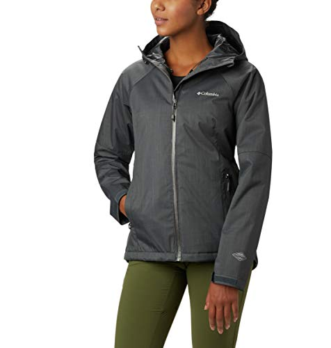 Columbia Women's Top Pine Insulated Rain Jacket, Waterproof & Breathable, Shark Melange, Large