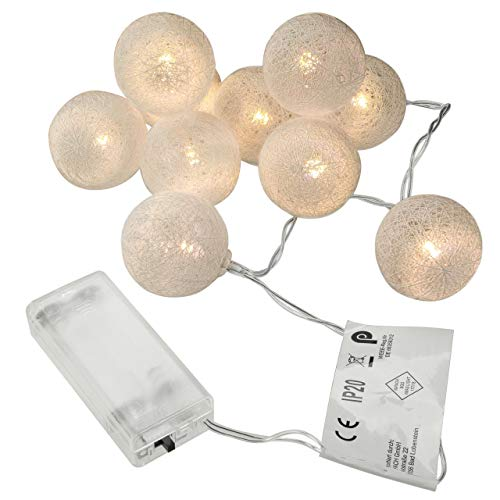2er Set 10er LED Lichterkette Weihnachten Partylichterkette Hochzeit Kindergeburtstag – Kugeln im Häkeldesign – innen warm-weiß 1,20 m Batterie