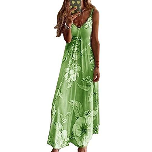 Fanville Damesjurk met lange boho, voor op het strand, zonder mouwen, V-hals 3XL groen