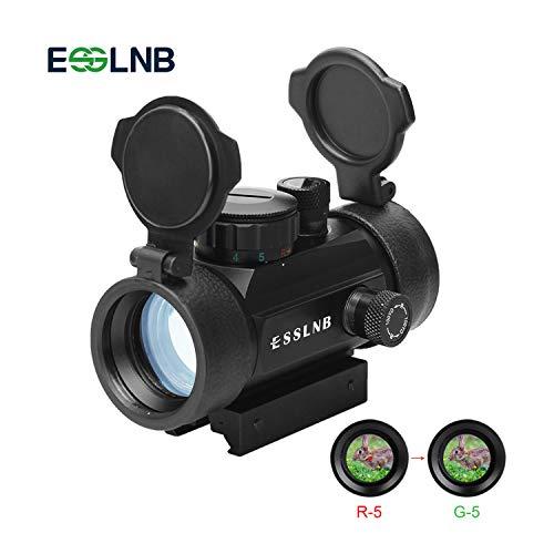 ESSLNB Red Dot Softair 5 Impostazioni di luminosità Mirino Softair con 20mm 22mm Tessitore Picatinny Montaggio su Guida e Copertine Apribili per Caccia