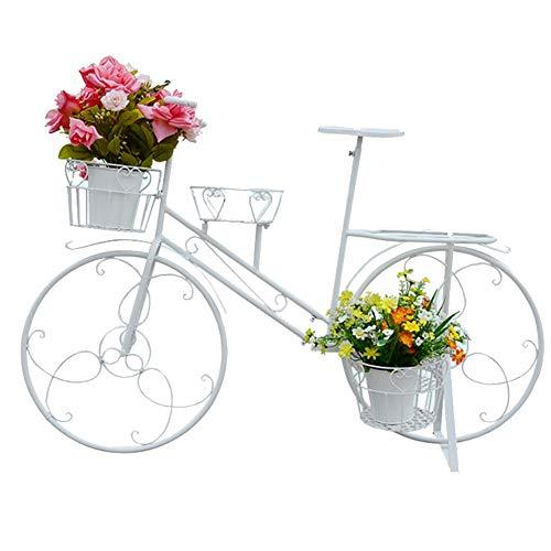 GZHENH Estantería De Flores Bicicleta Suculentas 4 Capas Estable Antióxido La Seguridad Patio Arte De Hierro (Color : Blanco, Tamaño : 108x43x70cm)
