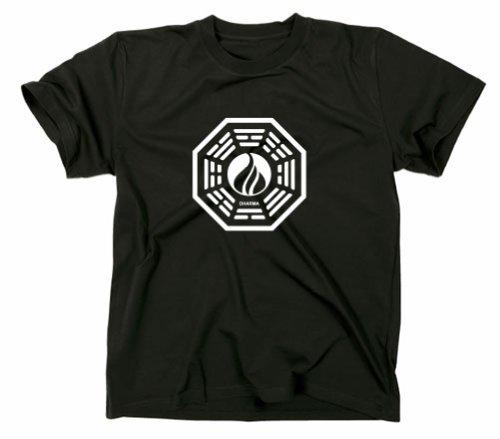 Lost Die Flamme T-Shirt Logo Dharma Initiative, schwarz, XL