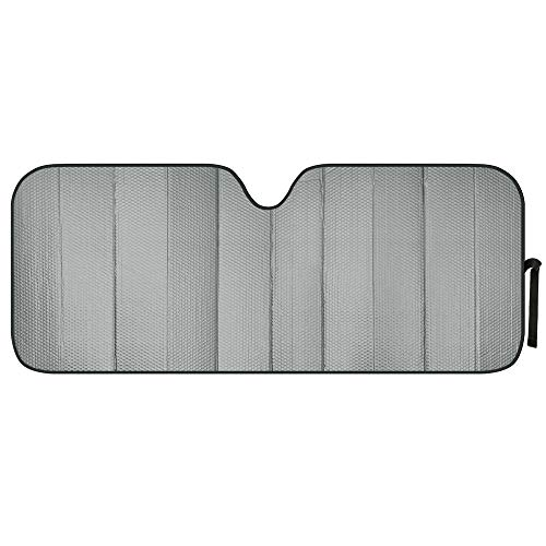 Motor Trend Front Windshield Sun Shade - Jumbo Accordion Folding Auto Sunshade for Car Truck SUV - Blocks UV Rays Sun Visor Protector - Keeps Your Vehicle Cool - 66 x 27 Inch (Gray)