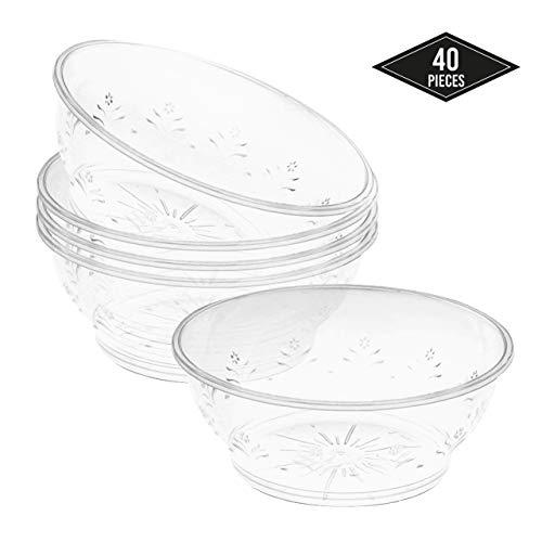 40 Elegante Kleine Plastikschüsseln, Transparent 180ml - Dessertschüsseln Dessertschalen Dessertbecher| Stabil, Einweg & Wiederverwendbar| für Nachtisch Fingerfood auf Partys Hochzeiten Geburtstage.