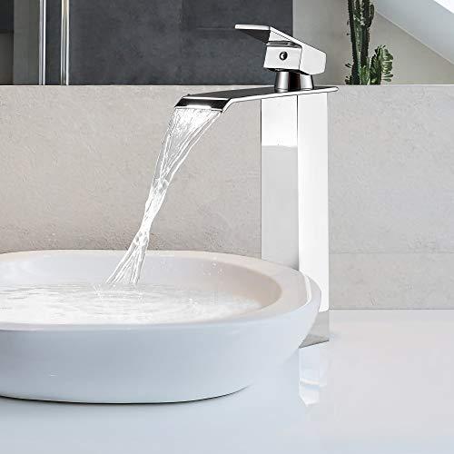 DesignSter Rubinetto bagno a Cascata, Miscelatore a Cascata Rubinetto Lavabo Bagno Miscelatore Monocomando da Lavandino Bagno con Valvola in Ceramica
