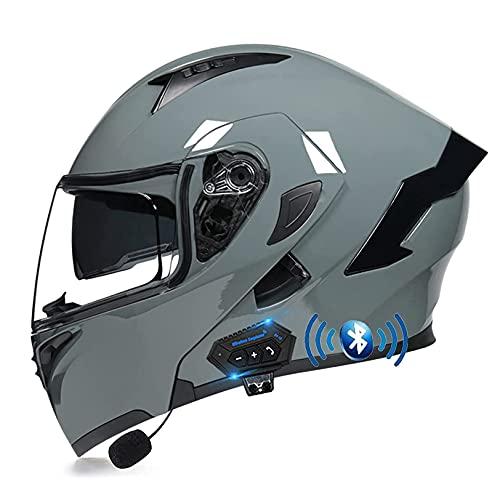 LIRONGXILY Casco Moto Modular Casco Integral Casco Moto Bluetooth Integrado Modular Casco de Moto con Doble Visera para Hombre o Mujer ECE Homologado (Color : G, Size : 57-58CM(M))