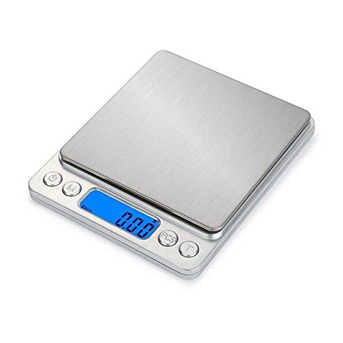 1 kg / 2 kg / 3 kg Ultradünne Küchenwaage USB-Aufladung mit blauer Hintergrundbeleuchtung Digitale elektronische Waage Lebensmittelschmuck Gewichtswaage-2 kg-0,1 g