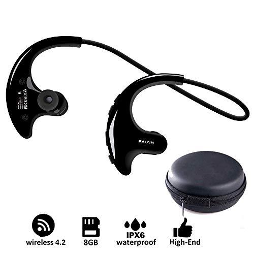 OLPvh MP3-speler Draagbare Mp3 muziekspeler Sport Draadloze Hoofdtelefoon Bluetooth Oordopjes Ingebouwde 8GB Memory Storage Headset voor hardlopen Gym, 8GB, Blauw
