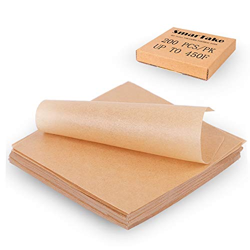 SMARTAKE 200 Pcs Unbleached Parchment Paper Baking Sheets, 4x4 Inches Non-Stick Precut Baking Parchment, Perfect for Wrapping Candy Baking Grilling Cup Cake Cookie and More