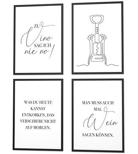 Papierschmiede® Spruch-Poster 4er-Set in DIN A4   Motiv: Wein   Italien Vino Pasta   Typografie für Zuhause als Kunstdruck ohne Rahmen