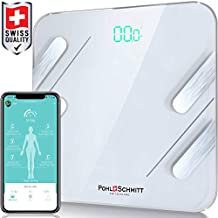 Pohl Schmitt Body Fat Bathroom Scale, Smart Digital Scale Tracks 13 Key Compositions, 8mm-Thick Glass, Sync with Fitbit, Apple Health and Google Fit, 400 lbs