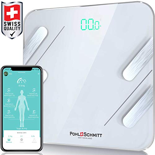 Pohl Schmitt Digital Weight Scale, Smart Bluetooth Body Fat Scale, Bathroom Scale Tracks 13 Key Compositions, 6mm-Thick Glass, Sync with Fitbit, Apple Health and Google Fit, 400 lbs