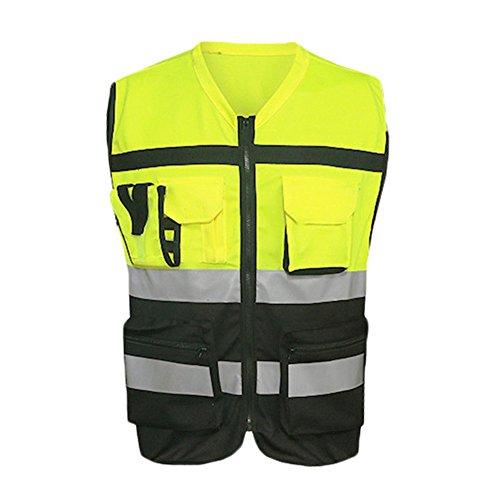 ZREAL - Chaleco reflectante para carreras, bicicleta, senderismo, bicicleta, chaleco de seguridad reflectante, chaqueta con bolsillos, large