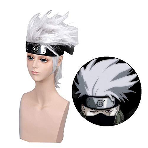 Fingertoys Naruto Cosplay Peluca, Anime Kakashi Plata Pelucas Decoracin de Fiesta o Cosplay Peluca Disfraz Mejor Regalo para Nios, Nia ,Adolescentes,Adultos y Anime Abanicos