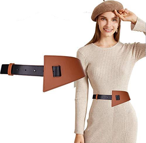 Longwu Cinturón ancho de contraste para mujer, cintura de cuero genuino para vestido, mono con longitud ajustable para niñas, damas, fiesta de Navidad, marrón y negro