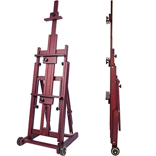 MEEDEN - Caballete de estudio multifunción para artista, caballete de madera de haya, soporte para lienzo de hasta 77 pulgadas (color nuez)