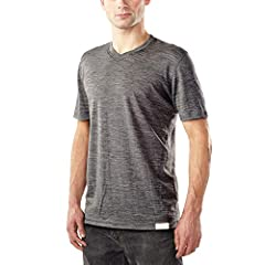 [ EVERYDAY WEIGHT V NECK TEE SHIRT ] Flatlock seams, tagless interior, low bulk athletic fit for layering versatility. Full merino construction for natural stretch, odor resistance, moisture wicking, itch free, 4-season comfort. [ MODERN FIT FOR DAIL...