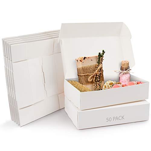 Kurtzy Cajas de Cartón Kraft Blancas (Pack de 50) – Medidas de las Cajas 19 x 11 x 4,5 cm - Caja Kraft Fácil Ensamblado Cuadrada Presentación - Cajas Blancas para Fiestas, Cumpleaños, Bodas