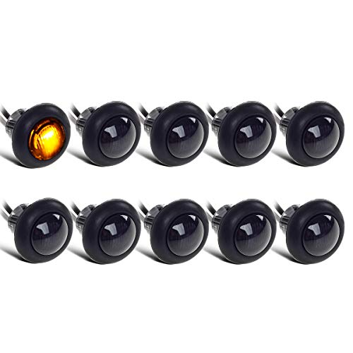 10x Truck Trailer Boat 3/4 Amber Round Led Marker Clearance Light Grommet Smoked Replacement For Pickup Truck Trailer Boat Amber LED 3/4 Mini Clearance Auxiliary Turn Signal Light Lamp